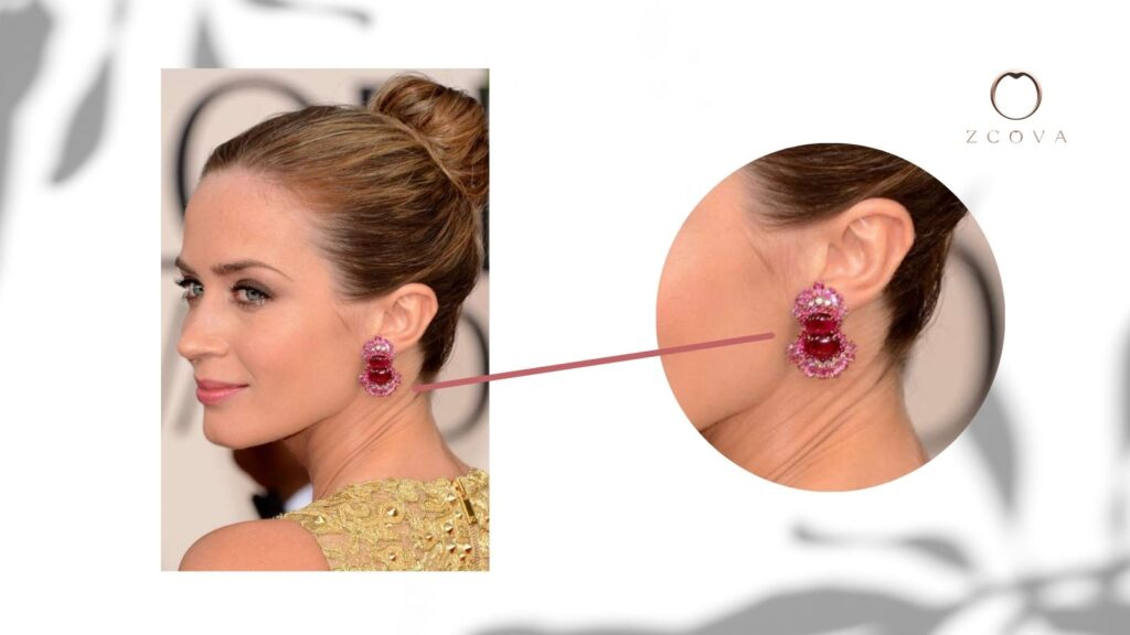 Emily Blunt wearing a combination of Rubies, Pink Sapphires and Diamonds earring