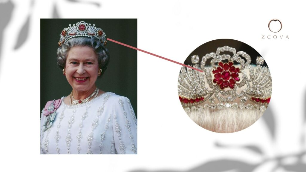 Queen Elizabeth II wearing a tiara with 96 ruby gemstones