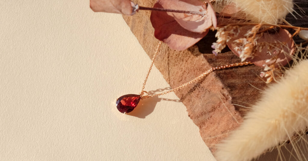 Red Garnet Gemstone 18K Necklace