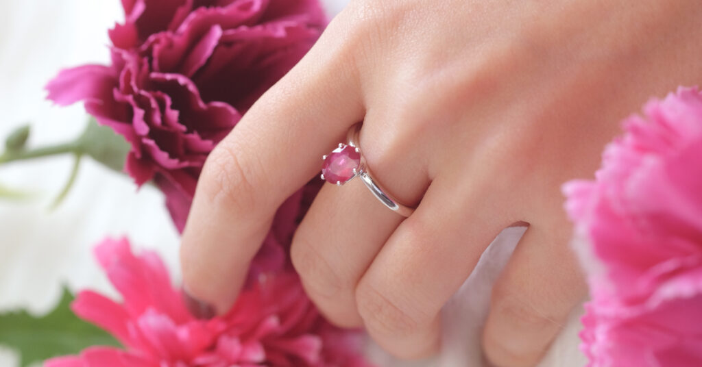 Oval Red Ruby Gemstone in Solitaire Ring