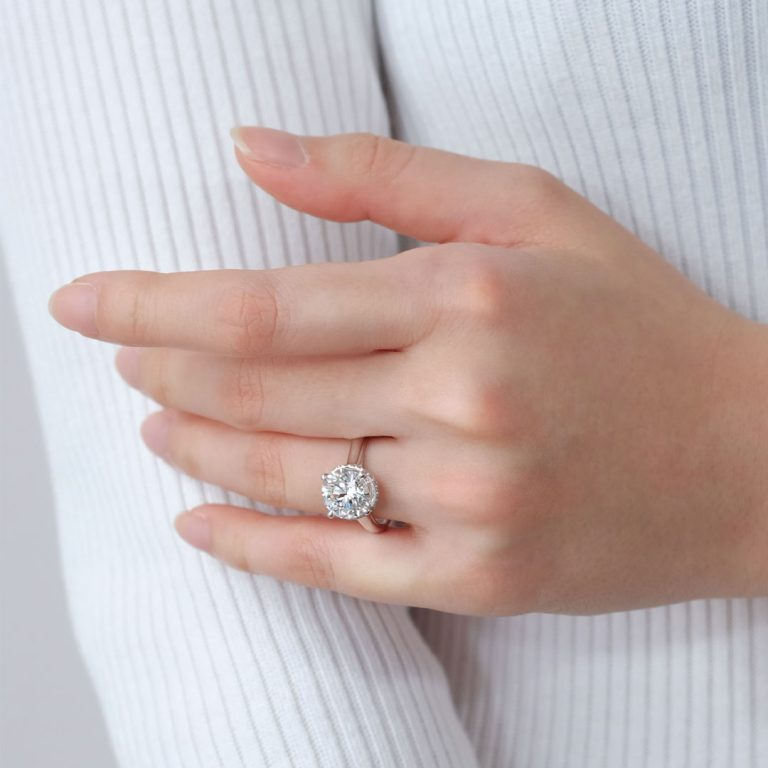 Zcova GIA 3 Carat Halo Solitaire Engagement Ring