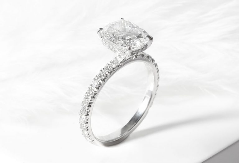 Fishtail Pave 4 Prongs Engagement Ring