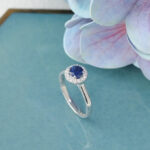 Round Blue Sapphire Halo diamond solitaire engagement ring
