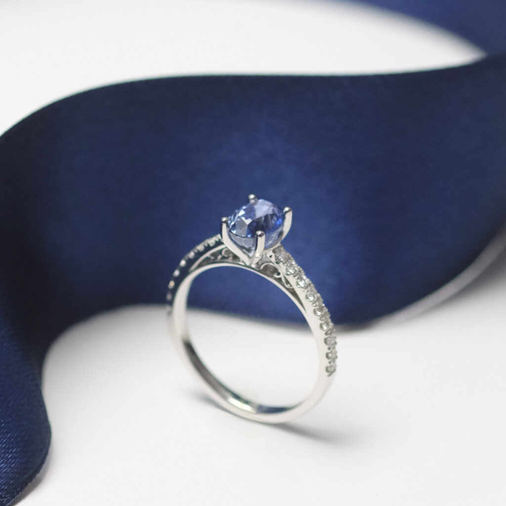 Blue Sapphire gemstone on Victorian Cathedral Solitaire Engagement ring