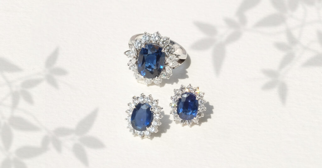 ZCOVA Princess Diana Blue Sapphire Earring and Ring