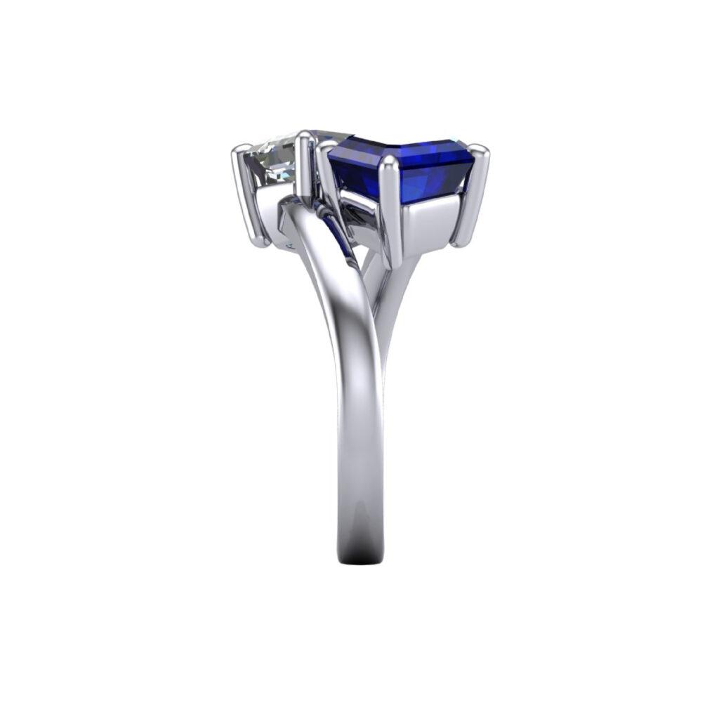 Toi et Moi blue sapphire and diamond ring
