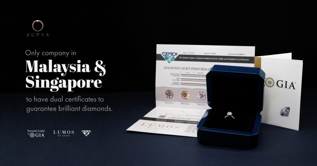 zcova the only brand to hold dual certified diamonds in malaysia and singapore