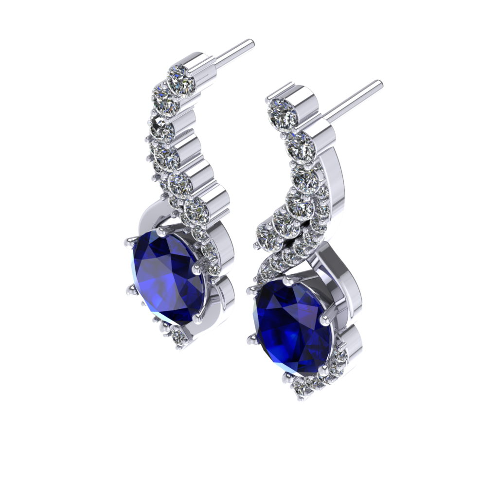 Queen Elizabeth customised Blue Sapphire earring