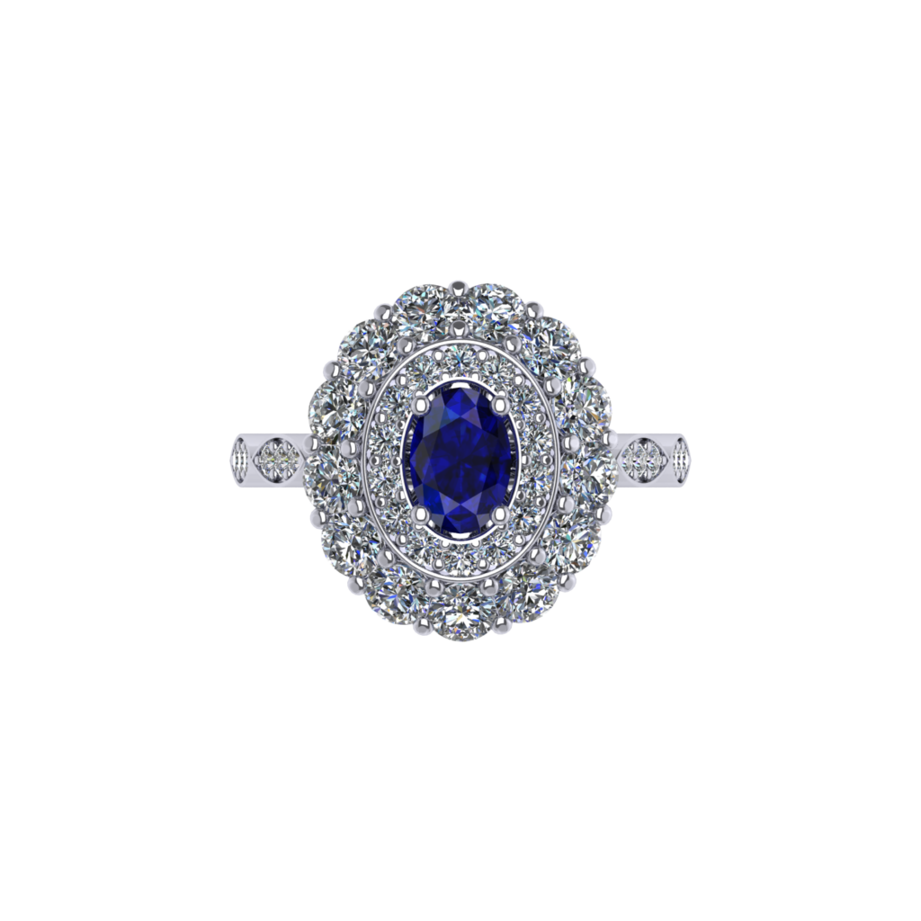 Princess Diana Royal Blue Sapphire Gemstone Ring