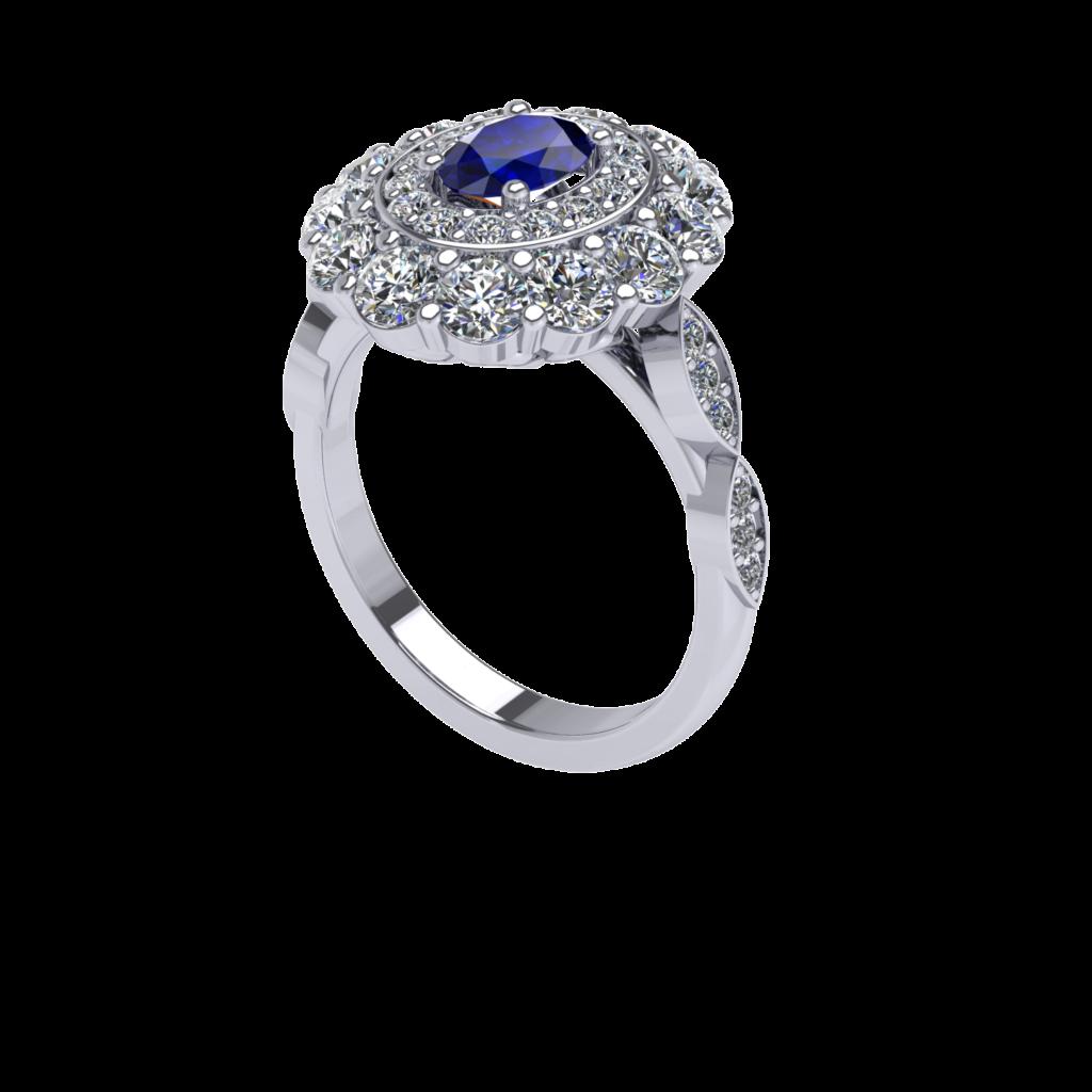Princess Diana Royal Blue Sapphire Gemstone inspired ring