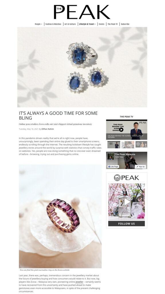 The Peak X ZCOVA Gemstone Jewellery