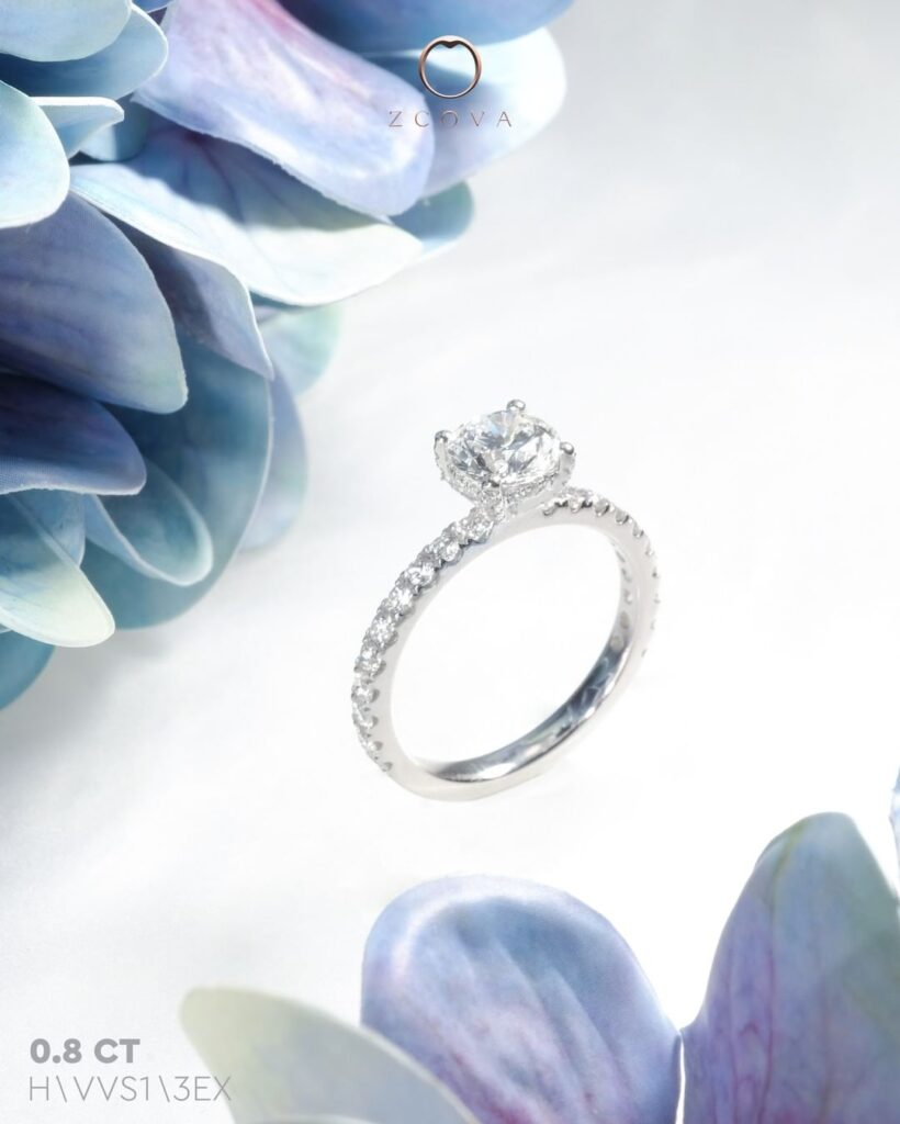 0.8CT Hidden Halo Pave Engagement Ring