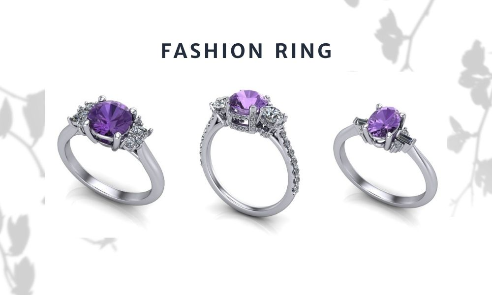 3 stone Purple Spinel with side diamonds fashion ring