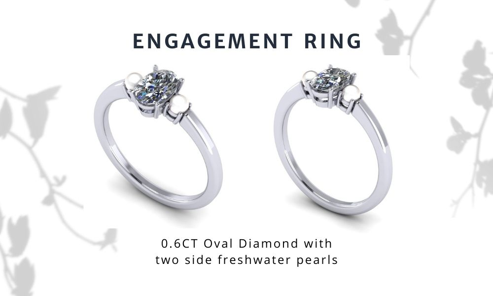 Ariana Grande Inspired Engagement Ring Oval Diamond and Pearl