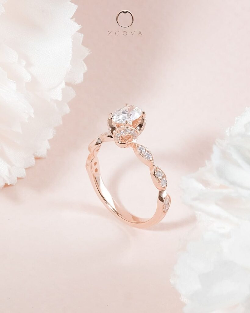 18K rose gold oval diamond ring with tulip pave setting