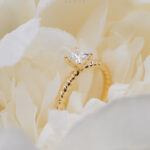 18K Yellow Gold Princess Diamond with twisted band engagement ring