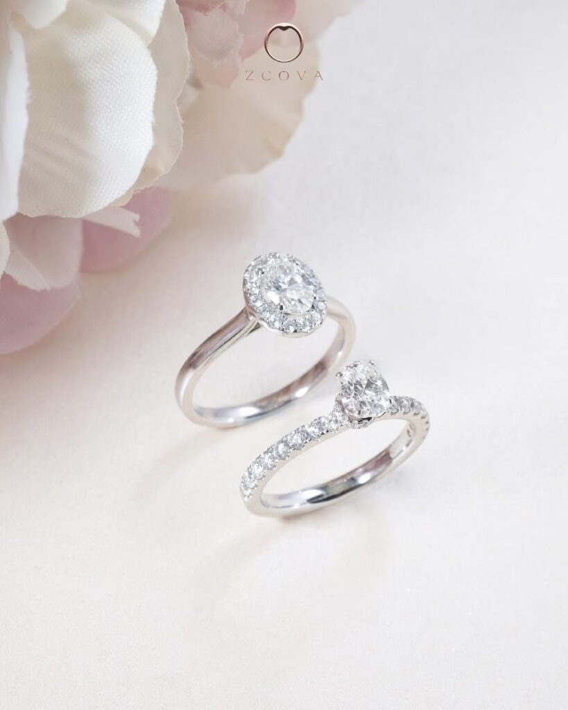 Oval Diamond Halo vs Oval diamond Pave Engagement ring