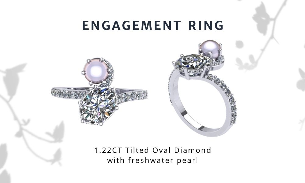 Ariana Grande Inspired Engagement Ring Oval Diamond and Pearl with Pave Setting