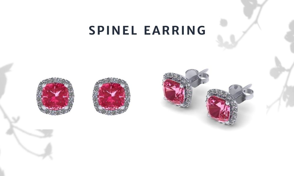 Pink Cushion Spinel with Halo diamonds Stud Earring
