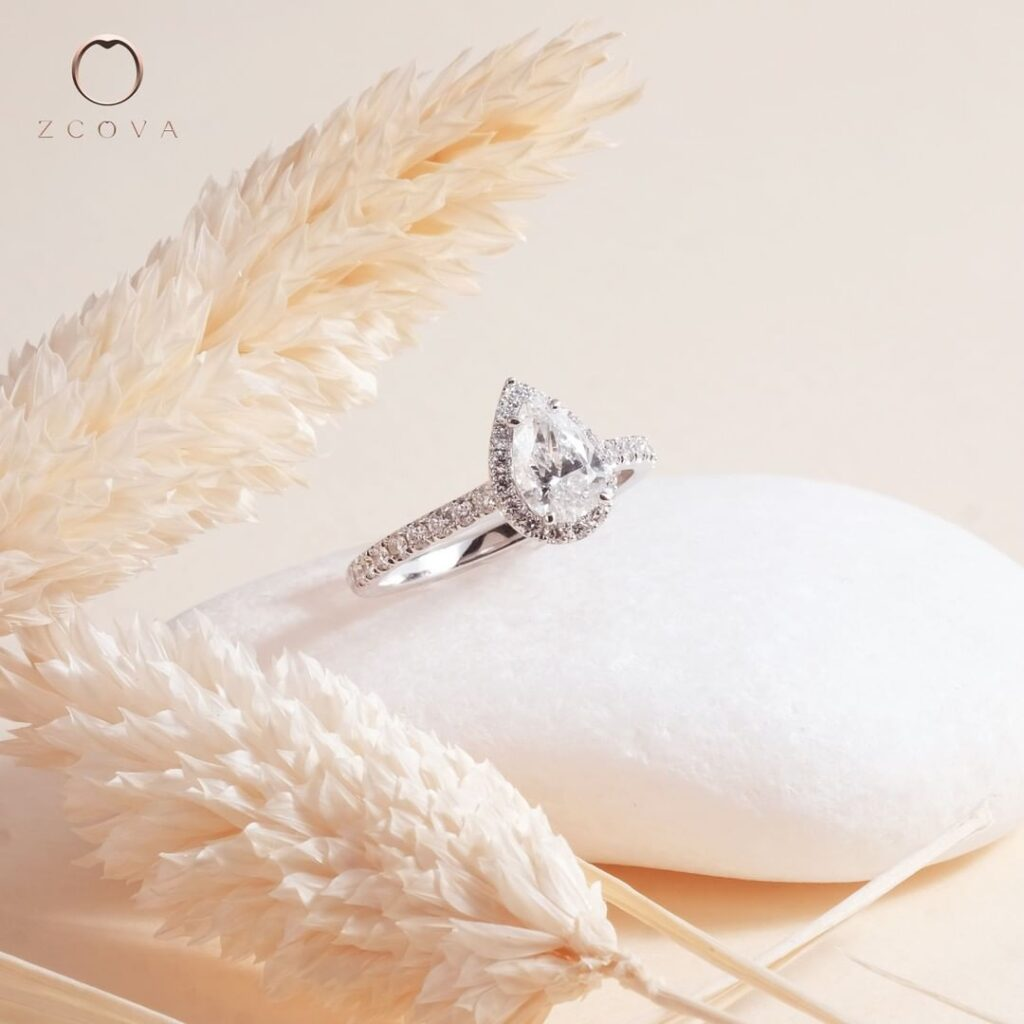 0.6CT Pear Halo Pave Engagement Ring