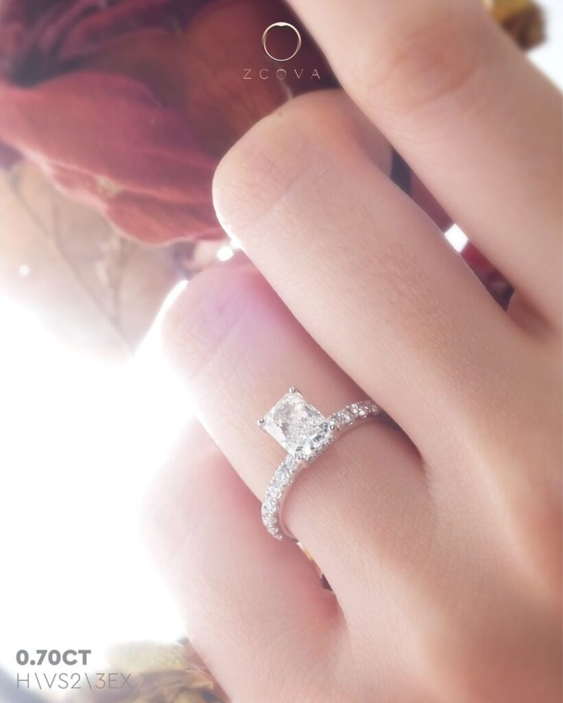 0.7CT Radiant Pave Engagement Ring