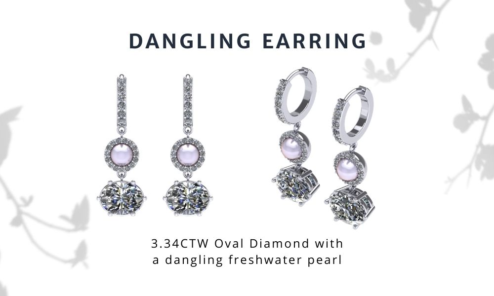 Ariana Grande Inspired Dangling Earring Oval Diamond and Pearl
