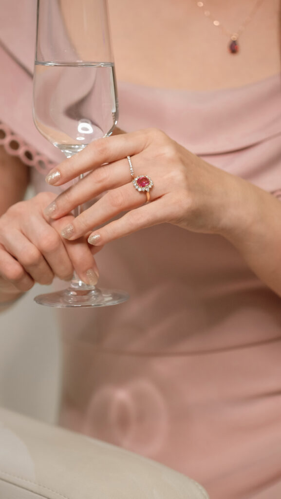 Padparadscha Sapphire gemstone engagement ring