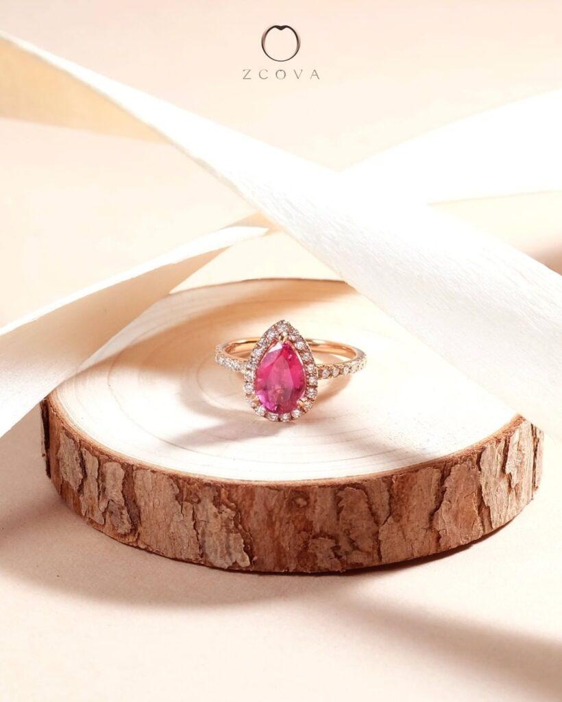 Pink Spinel Gemstone Engagement Ring Rose Gold Halo pave