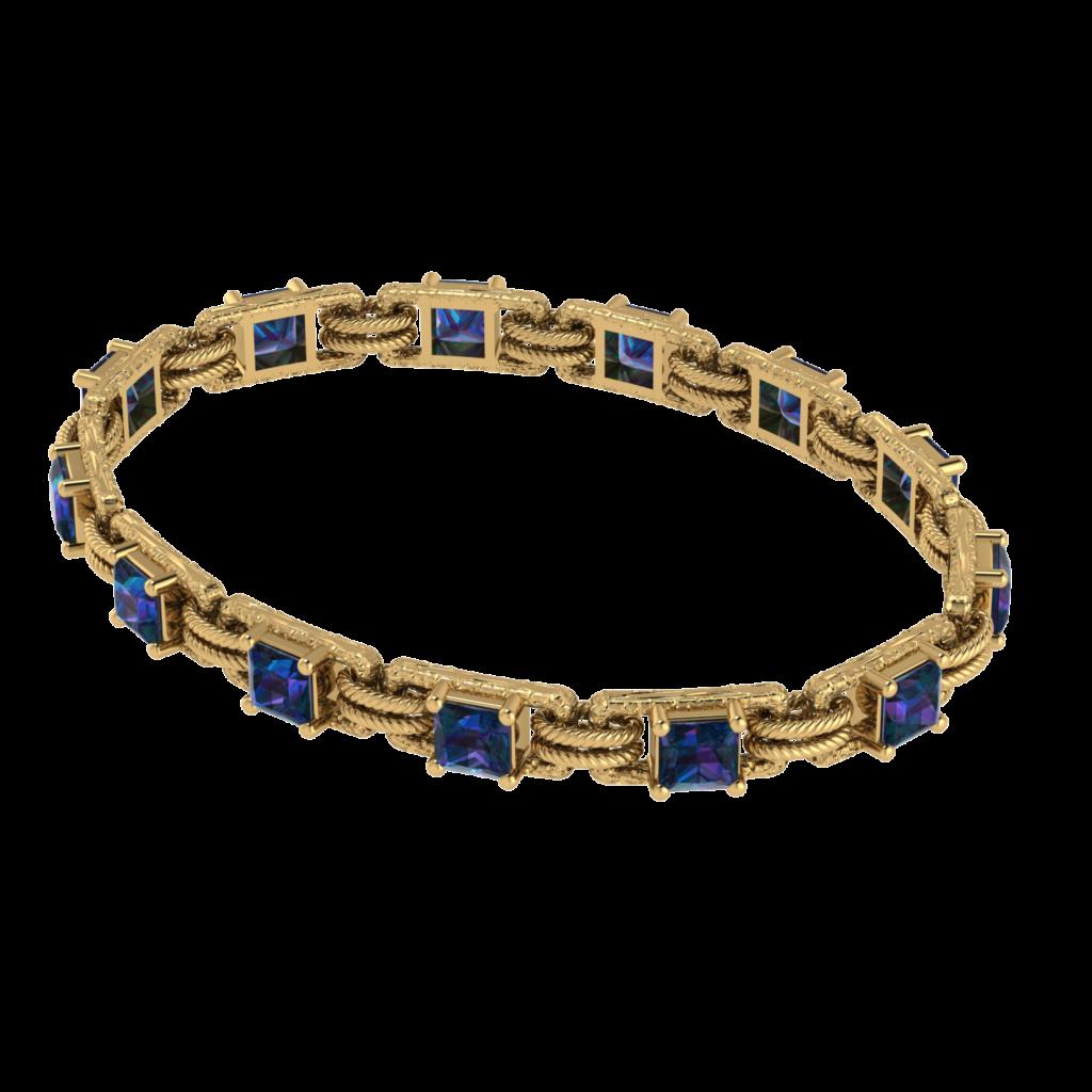 Alexandrite gemstone bracelet yellow gold