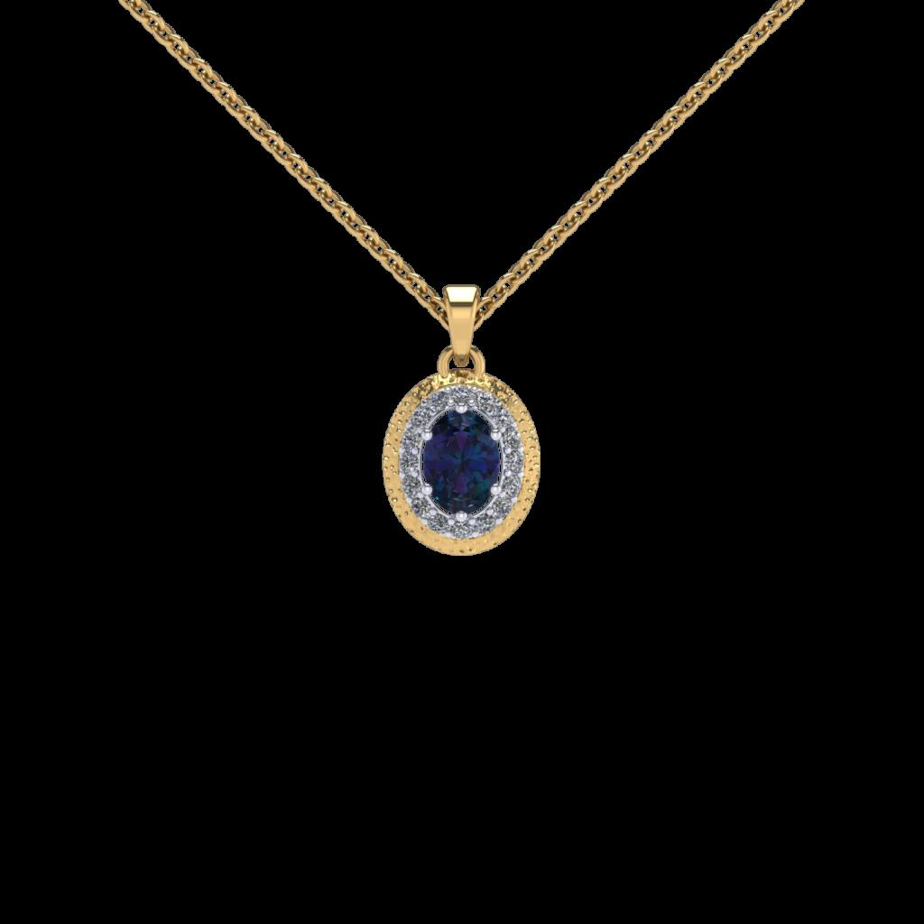 alexandrite gemstone halo diamond pendant necklace yellow gold