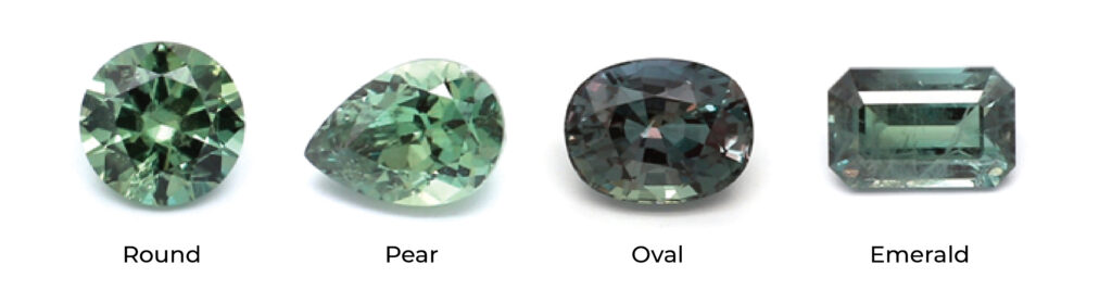 different shapes of alexandrite gemstone