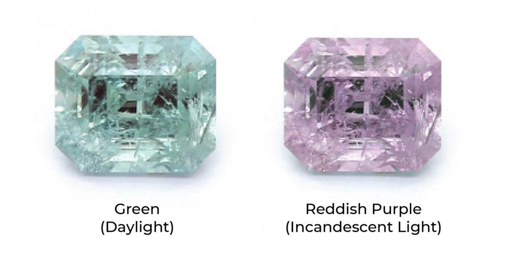 alexandrite colour change under light