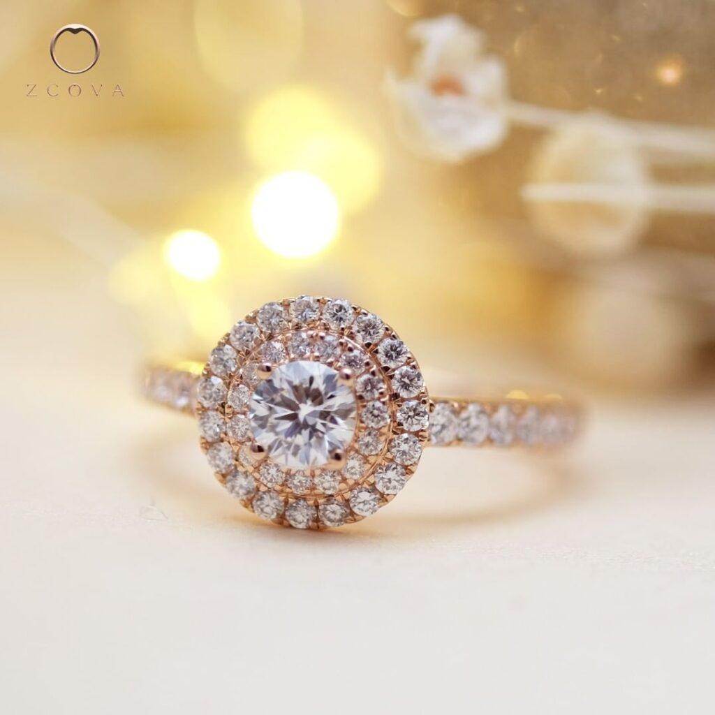 double halo 0.4ct diamond engagement ring