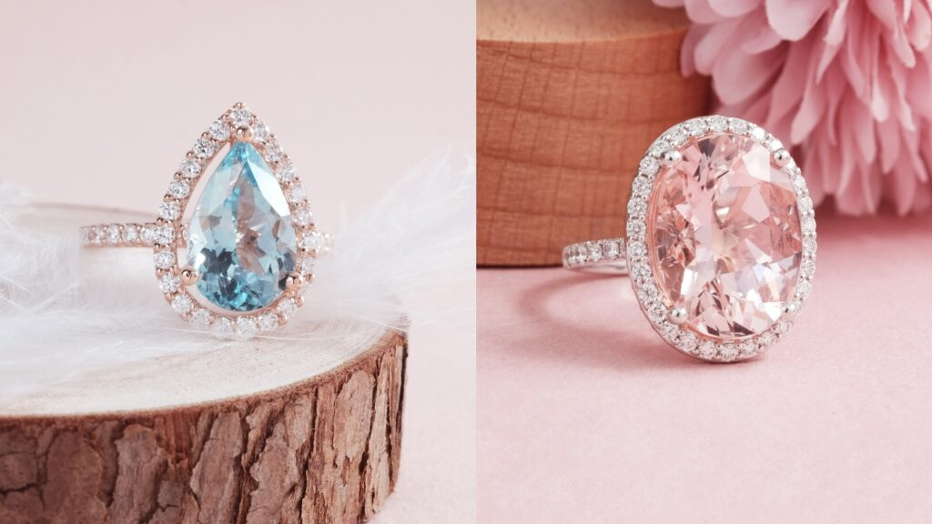 Aquamarine and Morganite Gemstone Ring