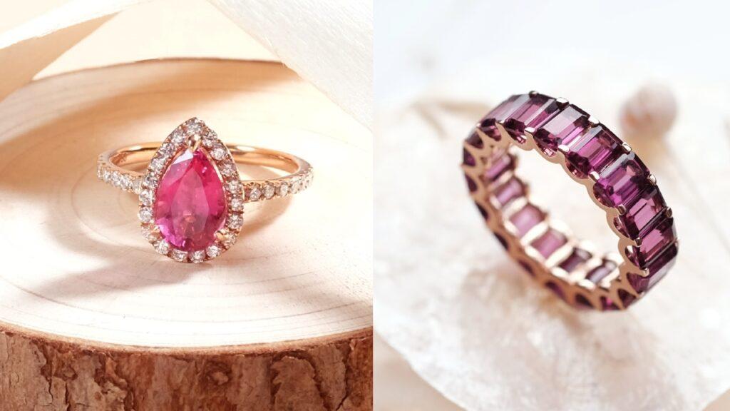 Gemstone Engagement Ring and Gemstone Eternity Ring