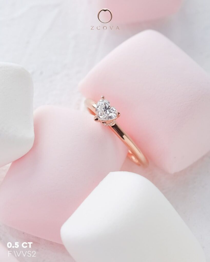 0.5CT Heart Lia Solitaire Engagement Ring