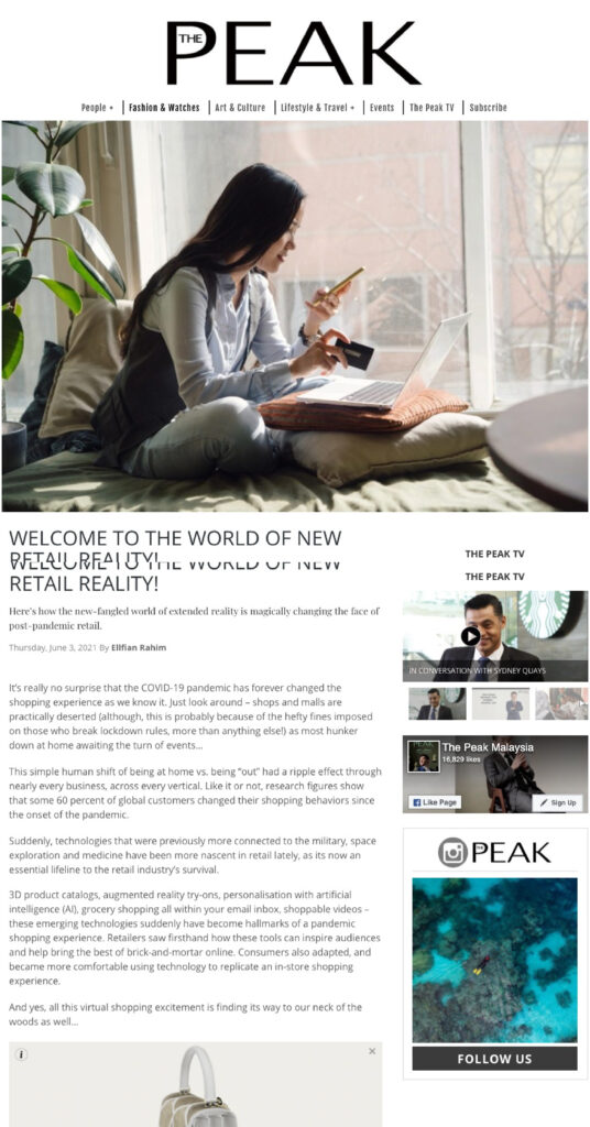 ZCOVA featured in The Peak about AR Try on Rings