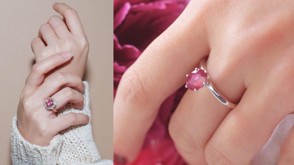 Parapadscha Gemstone Ring and Pink Ruby Gemstone Ring