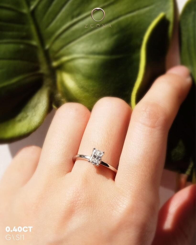 0.4CT Radiant Solitaire Engagement Ring