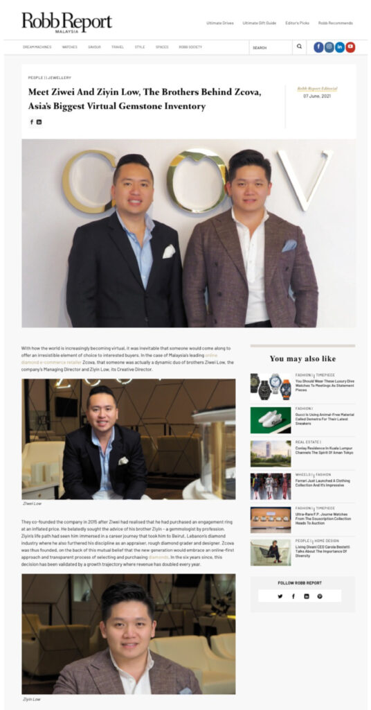 ZCOVA in Robb Report Malaysia - Asia's biggest virtual gemstone inventory