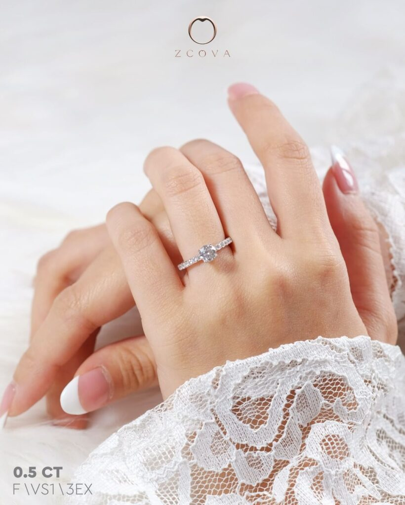 0.5CT Round Pave Engagement Ring