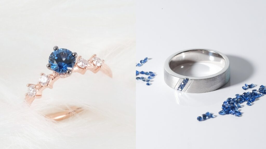 Sapphire Gemstone Engagement Ring Wedding band