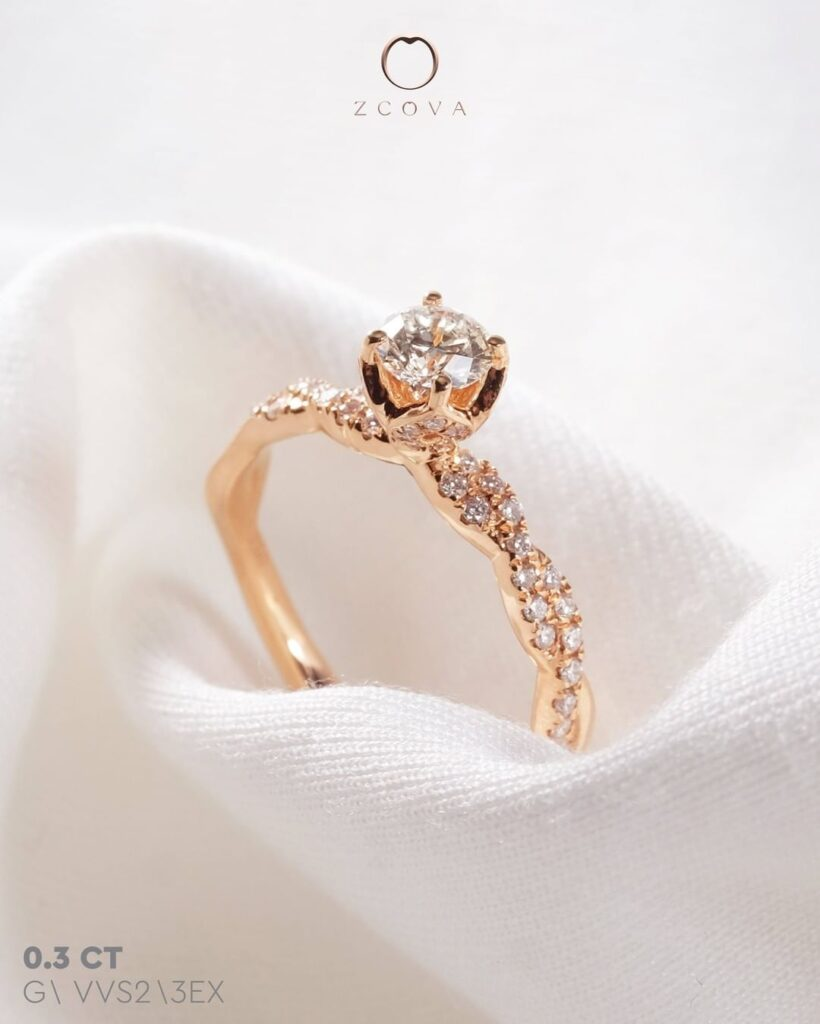 Twisted Tulip Pave Rose Gold Engagement Ring