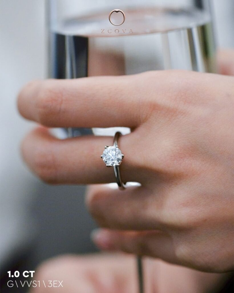 1CT Round Lia 6 Prong Engagement Ring