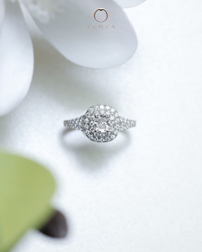 Double Halo Engagement Ring White Gold