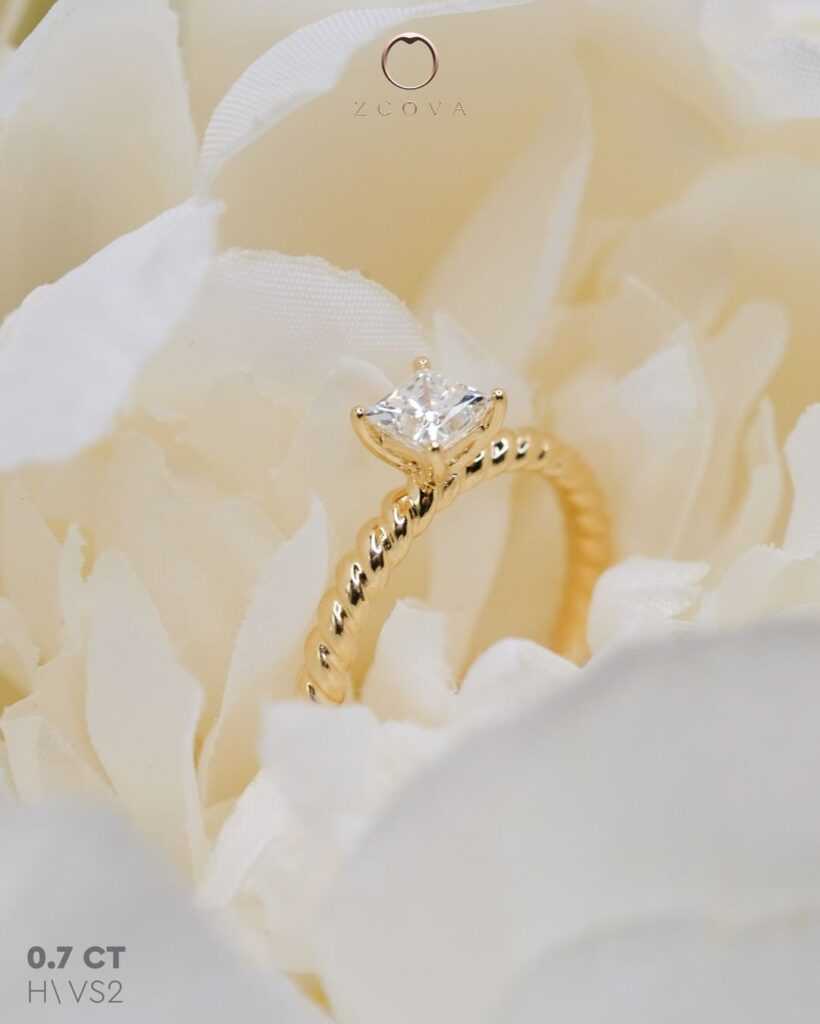 Princess Twisted Band Engagement Ring Yellow Gold