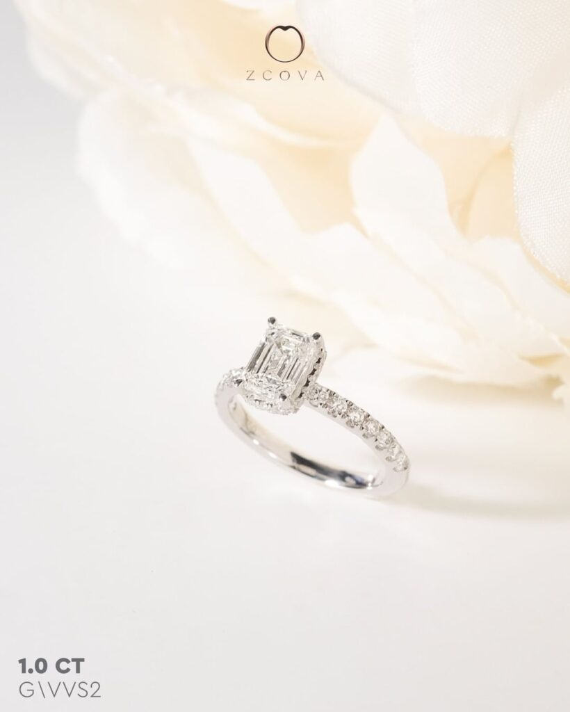 1CT Emerald Hidden Halo Pave Engagement Ring