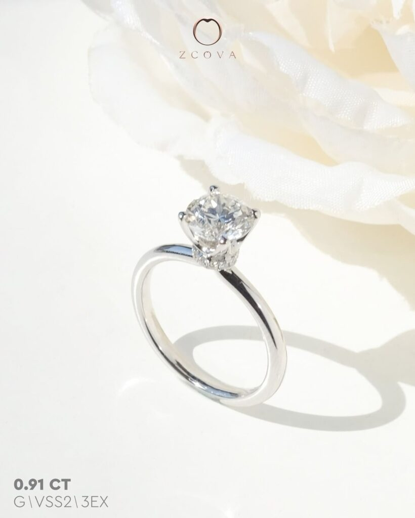 Lia 4 Prong with small pave donut engagement ring