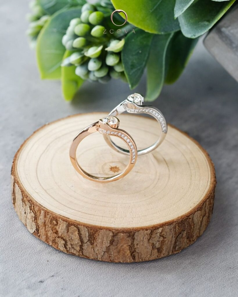 Twisted Pave Tension Set Engagement Ring