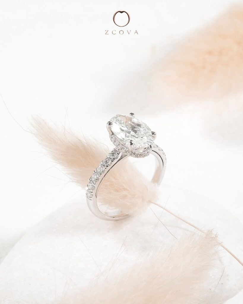 Oval Hidden Halo Pave Engagement Ring White Gold